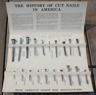Tremont Nail Co. Salesman Sample of Old Fashioned Cut Nails 1819 on Card
