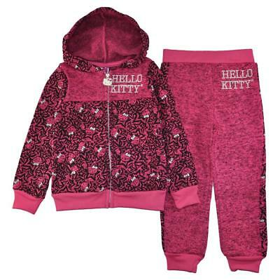 Hello Kitty Girls 2-Piece Fuchsia Printed Hoodie & Pant Set Size 2T 3T 4T $44