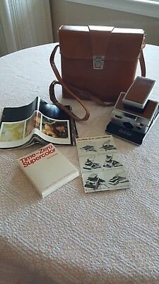 Clean, Complete, Polaroid SX-70 Land Camera, Leather Case, Film, Owner's Manuals