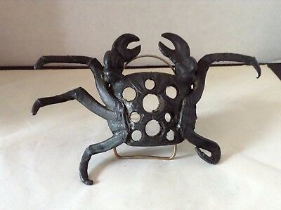 Antique Flower Frog Metal Articulated Crab 9 Holes Arts & Crafts Aesthetic