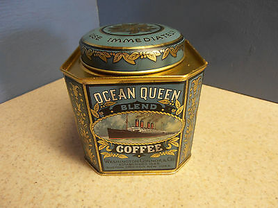 """4"""" Blue Ocean Queen Coffee Tin, Metal Canister, Kitchen Can, England, New York"""