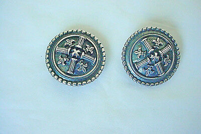 VINTAGE BC BRAND FLEUR DE LiS DISC STERLING EARRINGS MARKED