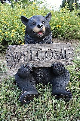 Black Bear Statue Black Bear Welcome Sign Statue Sculpture Yard Decor New Large