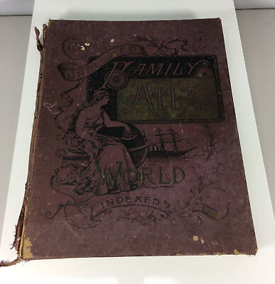 Cram's Unrivaled Family Atlas of the World 1891 Antique Book