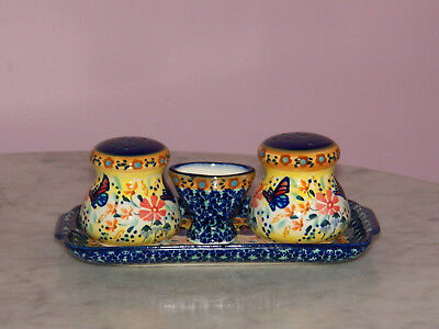 UNIKAT Polish Pottery Salt/Pepper/Toothpick/Tray Set! Butterfly Summer Pattern!