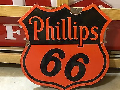 "WOW ORIGINAL 1954 30"" PHILLIPS 66 OIL GAS Service STATION DSP OLD PORCELAIN SIGN"