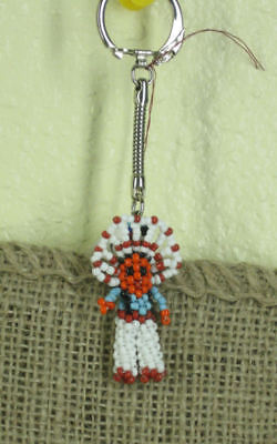 Native American Seed Beaded Indian Chief Keychain blue w/ white pants