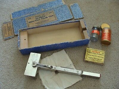 Antique Photography Flash Gun Clergy Shur-Fire Orig Box Powder Large Format RARE