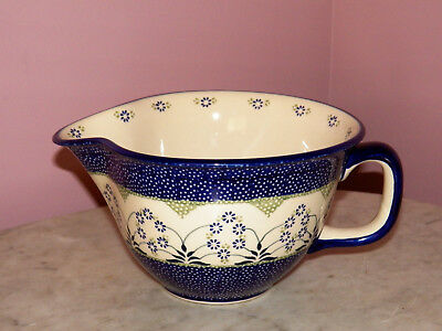 Genuine UNIKAT Polish Pottery Large Batter Bowl! Cyndia Pattern!