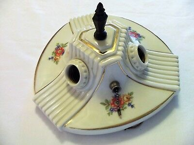 Vtg Ceramic Porcelain Ceiling Light Fixture Flush Mount Floral No Crazing