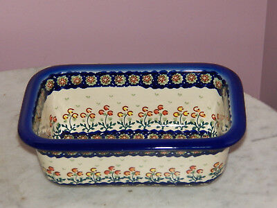 Genuine UNIKAT Hand Made Polish Pottery Loaf Pan! Lucy Pattern!