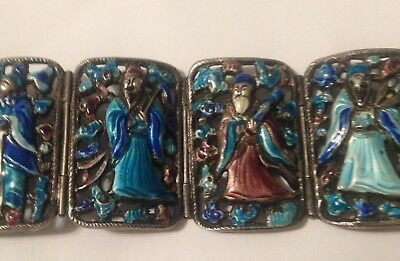 ANTIQUE CHINESE sterling silver ENAMEL  BRACELET 8 IMMORTALS LINKS HINGED