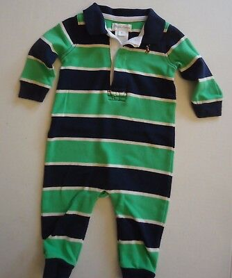 Boys 6 Months Navy Blue and Green Striped Ralph Lauren Polo One-Piece Romper Out