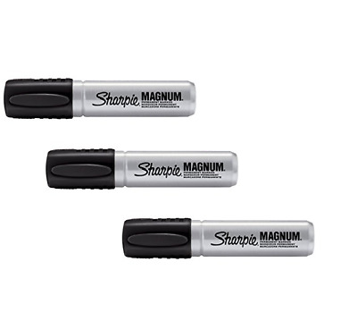 Sharpie Magnum Permanent Markers Chisel Tip Black, 44001 3 MARKERS