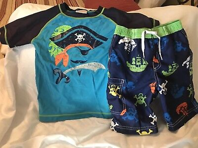 Hanna Andersson Youth Boys Pirates Swim Shirt And Shorts Size 110/120