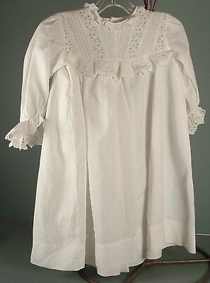 Antique Pleated & Eyelet Trim Toddler Child Or Girl Doll Dress Size 2 Or 3