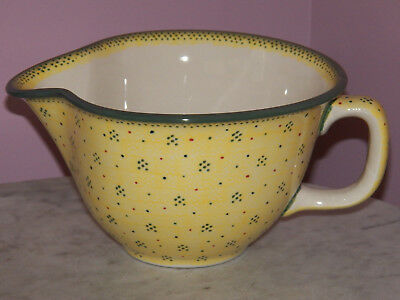 Genuine UNIKAT Polish Pottery Large Batter Bowl! Sunny Confetti Pattern!