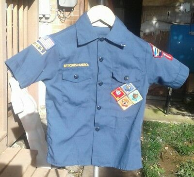 BSA Cub Scout Blue Uniform Shirt Size Youth Small 67%Cotton/35% Poly