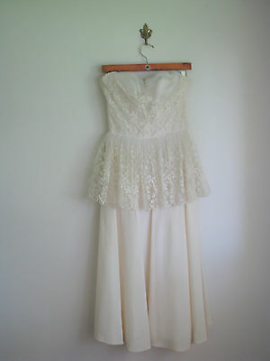 1950s Vintage Tulle Dress / 50s Lace White Formal Prom Wedding Dress As-Is