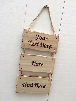 Rustic Driftwood Style Personalised Wooden Design Your Own Sign 20cm x 10cm 3pc