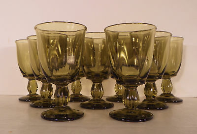 Tiffin CANTERBURY GREENBRIAR Water Goblet (s) LOT OF 9 Olive Green Stem #115
