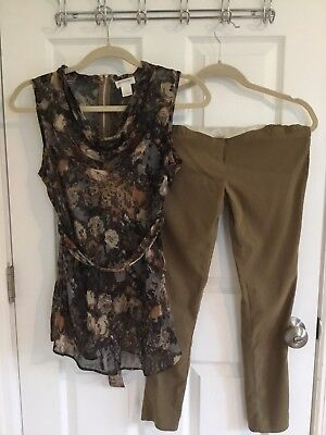 Motherhood  Maternity top and PinkBlush skinny pants in shades of brown, small