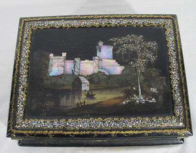 Antique 19th c WINDSOR CASTLE Black Lacquer Traveling Lap Desk/Writing Slope yqz