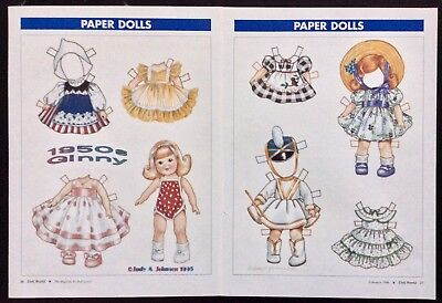 1950's Ginny Doll Paper Doll, Judy Johnson Artist, 1996 Doll World Mag.
