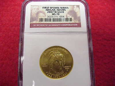 2007-W ~First Spouse Series~ Gold $10~NGC MS70~Abigail Adams~ 1/2 OZ GOLD~NICE!!