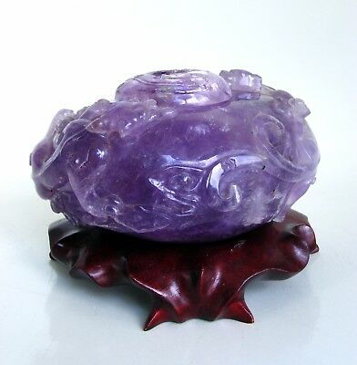 Antique Chinese Carved Amethyst Chilong Waterpot Water Pot and Cover