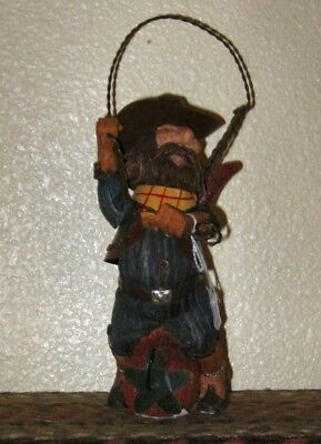 """South Western Wild West Old Cowboy w/metal rope riding a  jalapeno  9"""" x 4.5"""" ~"""