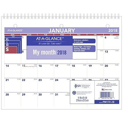 """AT-A-GLANCE Monthly Desk / Wall Calendar January 2018 - December 2018 8-1/2"""" ..."""