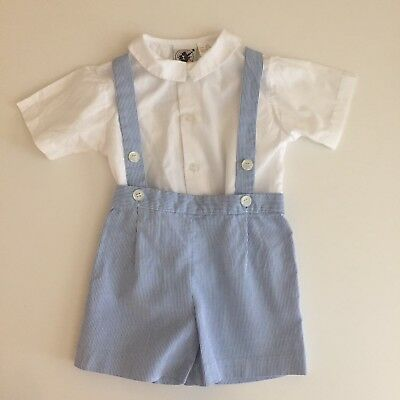 Vintage Good lad Stripe Boy Suspender jon jon Outfit Preppy Smocked Romper 12