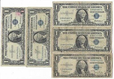 100% Old Rare Antique US Blue Seal Silver Dollar Bill Certificate Collection Lot
