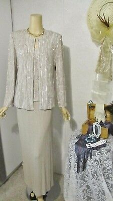 Mother Of The Bride Dress/Jacket Set by Alex Evenings-Size 8-White/Gold/Beige
