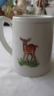 Large White Pottery Southern Living Forest Families Mug Stein Deer