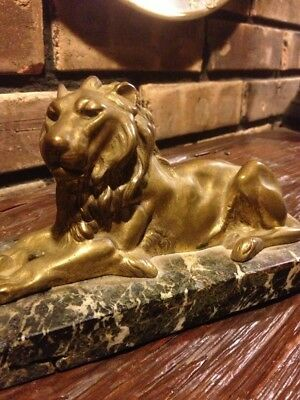 Resting Guardian Lion Statue Hand Crafted Bronze Metal Sculpture Marble Base Art