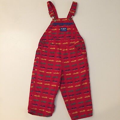 Rare Vintage Red Oshkosh Overalls Train Novelty Print 3 3t 2t Vestbak Conductor