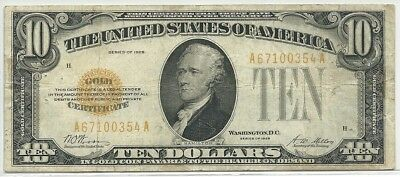 1928 US $10 Gold Certificate Note - Old United States $10 Dollar Bill