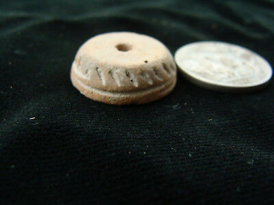 Ancient Aztec Pre-Columbian 'Disc' Ceramic Spindle Whorl Bead 1200-1500 AD Mexic