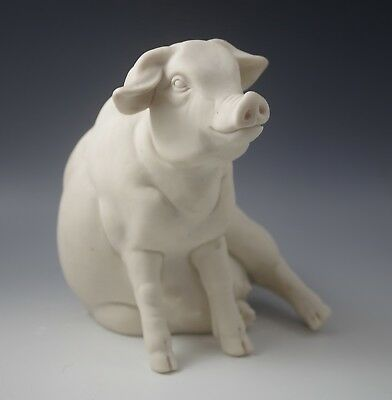 A. Lucchesi Italy Alabaster Large Farm Pig Sculpture  Heavy Signed