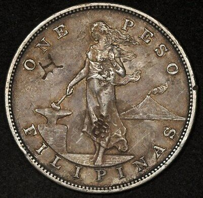 1903-S Philippines Peso 3 Chop Marks Xf+ Details Original Color
