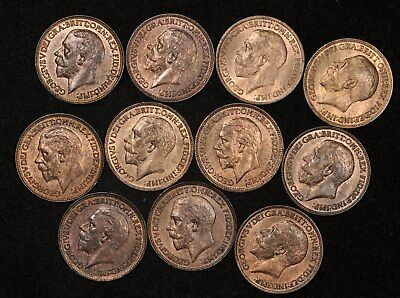 1918-1936 Great Britain Farthings Lot Of (11) Choice Uncirculated Coins