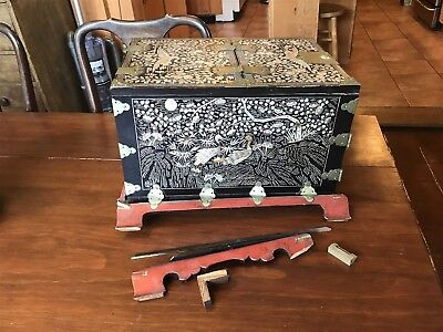 Antique 19th C. Chinese Mother of Pearl Inlaid Mirror Chest Jewelry Vanity Box