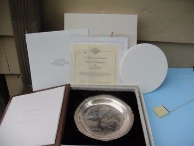 VTG James Wyeth Along The Brandywine Sterling Silver Collector Plate W/ Box COA