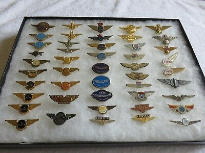 Metal Airline Kiddie Wings, Set of 50, Various Old and New Airlines