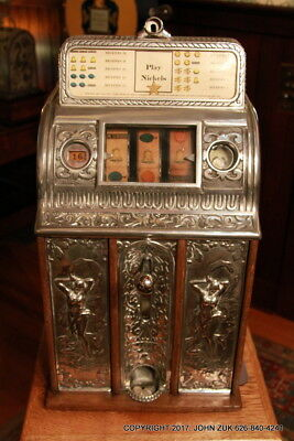 Caille Center Pull WWI Victory Art Deco Nude Front 5c Vintage Slot Machine Video
