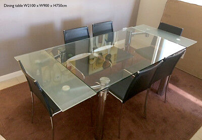 Glass dining table 6 seater with chairs 9 included!