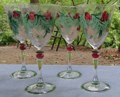 FOUR Gail Pittman Hand Painted Hollylujah Wine Goblets Mint