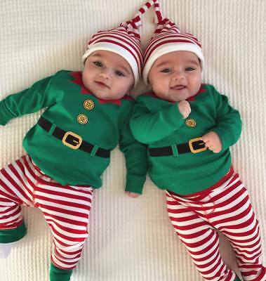 Christmas Newborn Kids Baby Boys Girls Romper Pants Hat Outfits Set Clothes 3Pcs